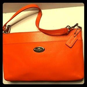 Beautiful Coach Bright Orange Leather 2 Way Bag